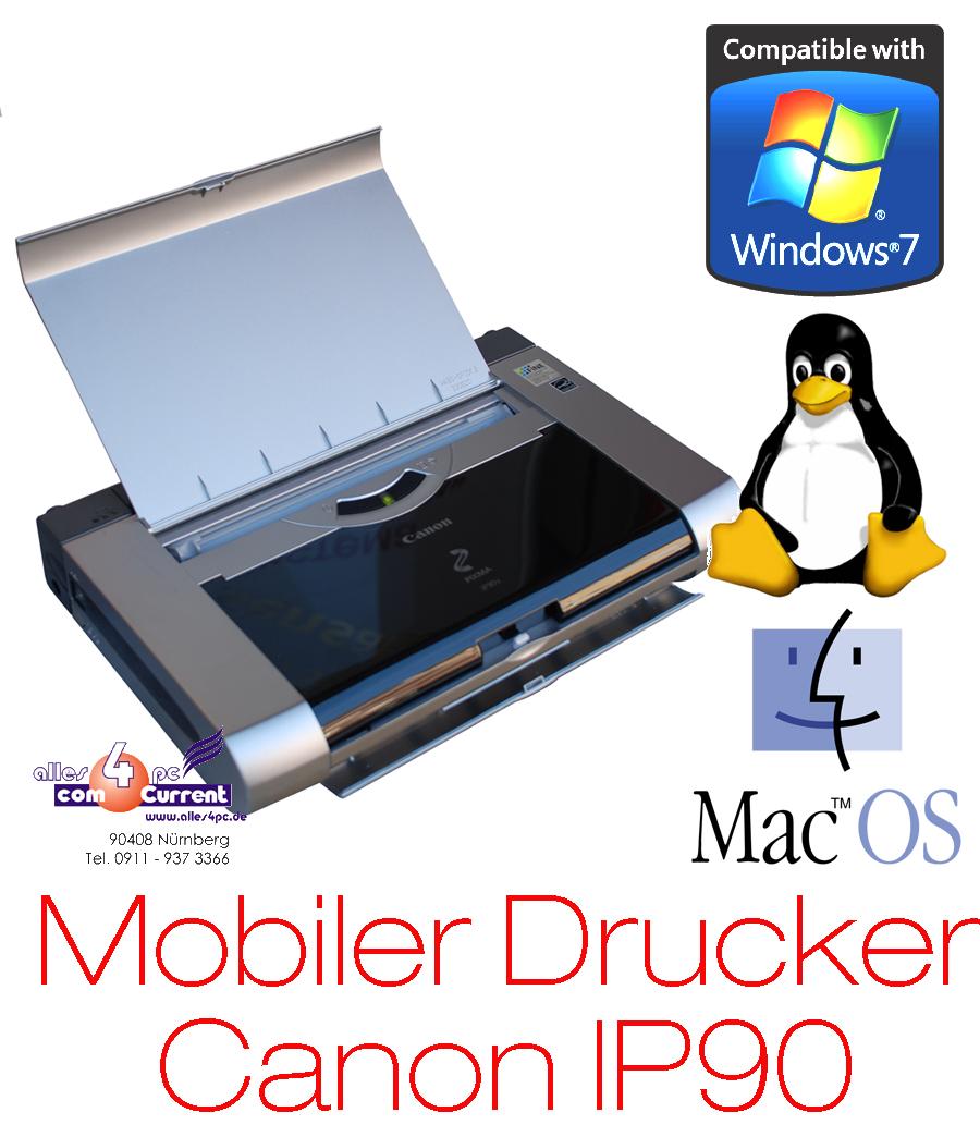 kleiner mobiler drucker canon ip90 usb windows 7 xp vista mac linux 2 set tint ebay. Black Bedroom Furniture Sets. Home Design Ideas