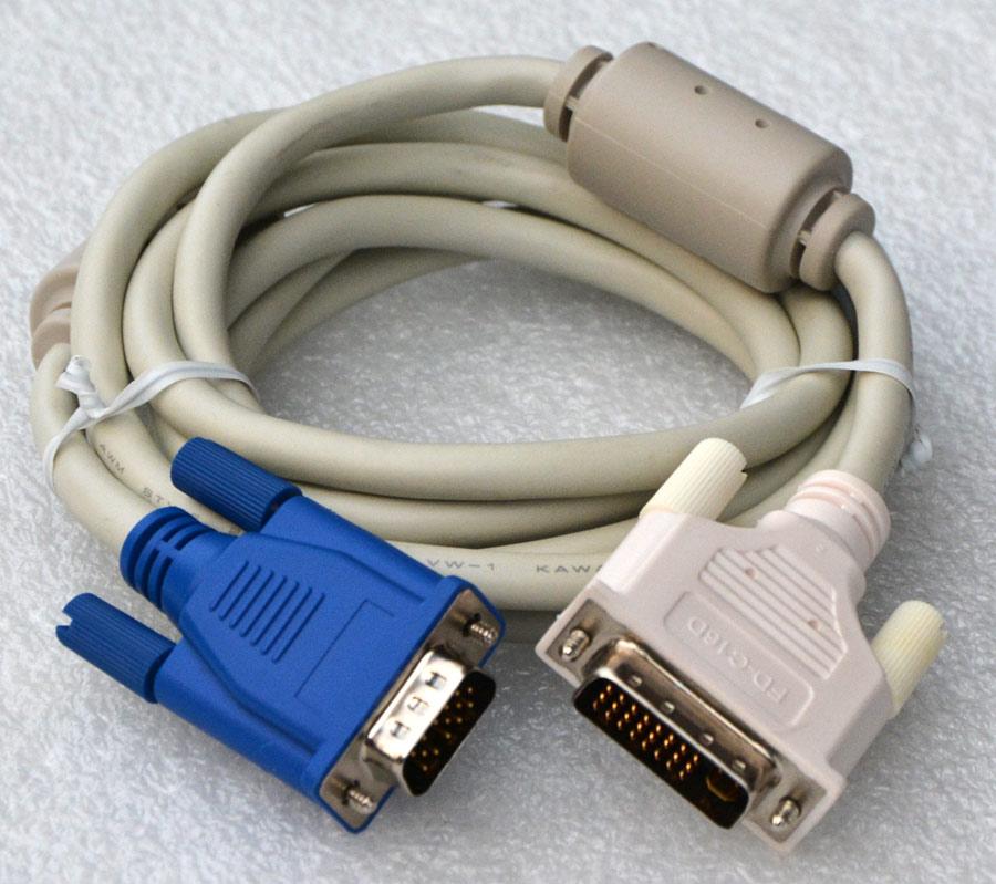 2 meter kabel cable monitorkabel vga 15 pin stecker dvi i mit ferritkern kb11 ebay. Black Bedroom Furniture Sets. Home Design Ideas