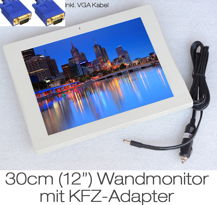 30cm 12 kleiner tft wandmonitor display auch mit kabel. Black Bedroom Furniture Sets. Home Design Ideas