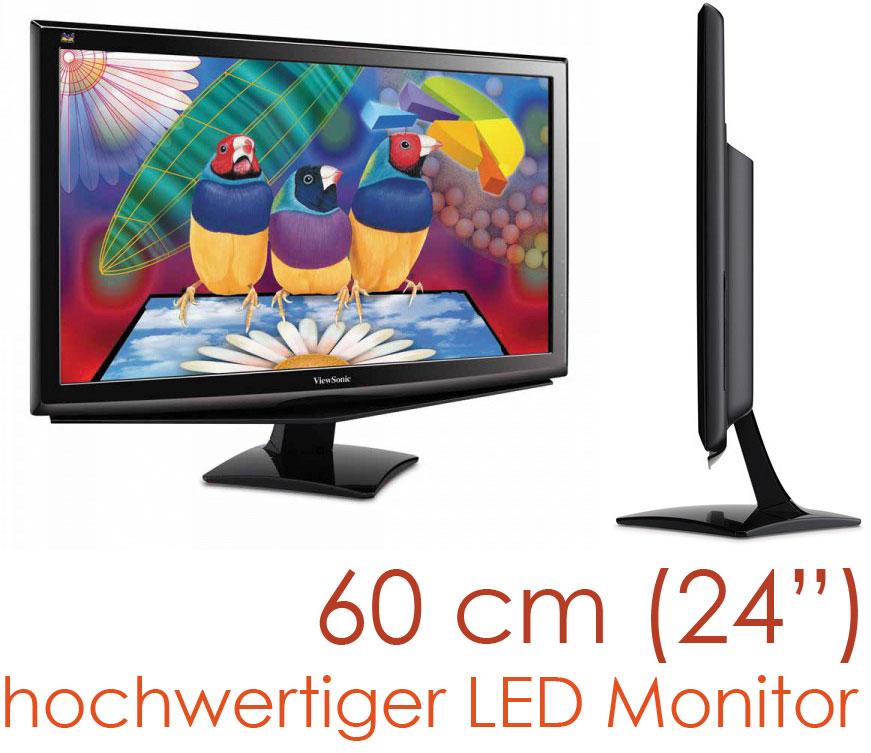 60cm 24 professioneller tft led monitor viewsonic va 2448 led mit dvi vga ebay. Black Bedroom Furniture Sets. Home Design Ideas