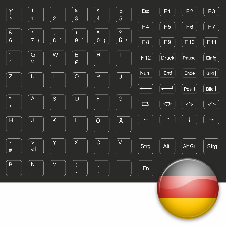 keybord sticker keyboard stick german black for black laptops ebay. Black Bedroom Furniture Sets. Home Design Ideas