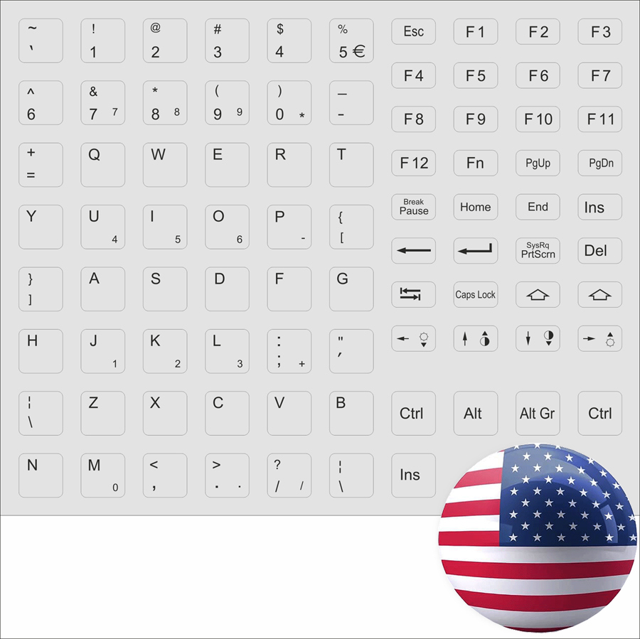tastaturaufkleber englisch grau tastatur grey keystick english uk for notebook ebay. Black Bedroom Furniture Sets. Home Design Ideas
