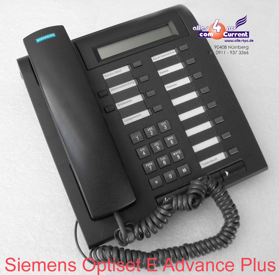 system telephone siemens optiset e advance plus black. Black Bedroom Furniture Sets. Home Design Ideas