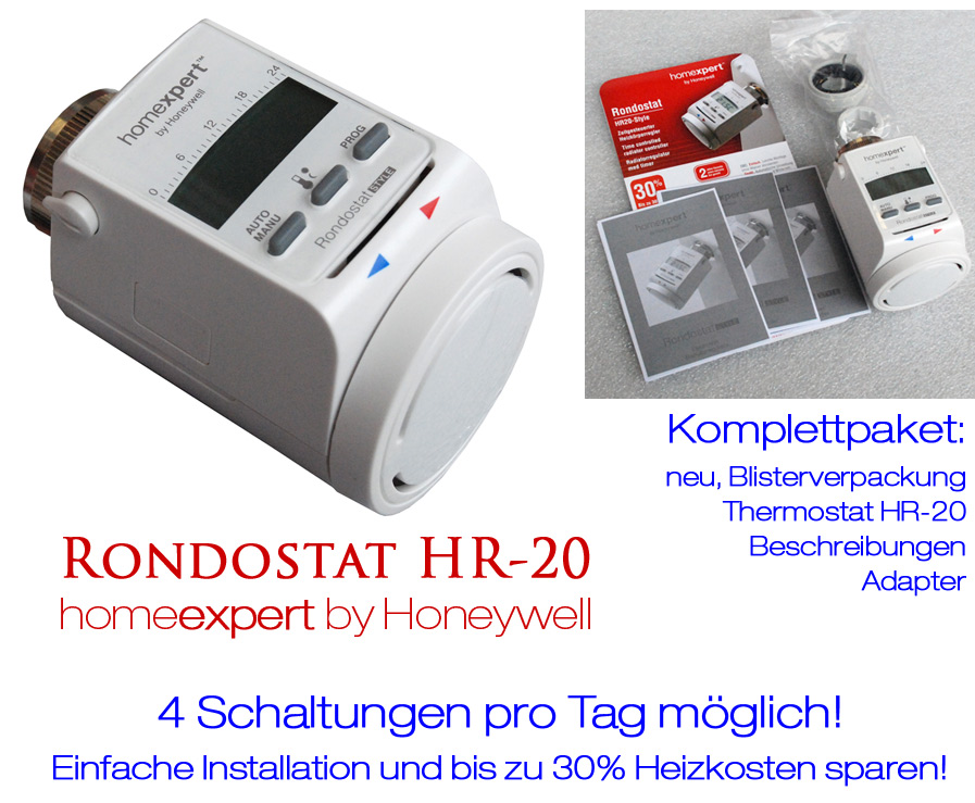 heizk rperregler thermostat homeexpert honeywell hr 20 ebay. Black Bedroom Furniture Sets. Home Design Ideas