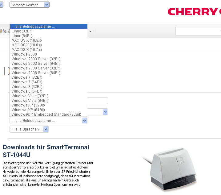 Cherry smart card reader st-1044u