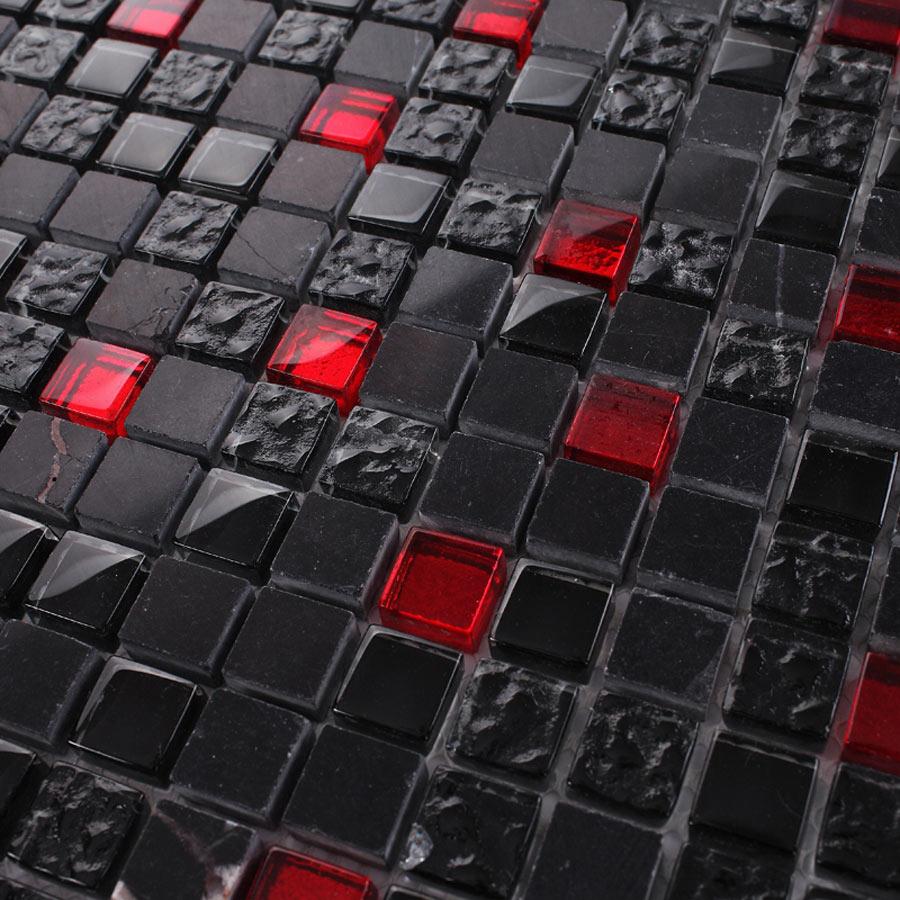 Mosaikfliese Schwarz Rot - Fliesen schwarz marmoriert