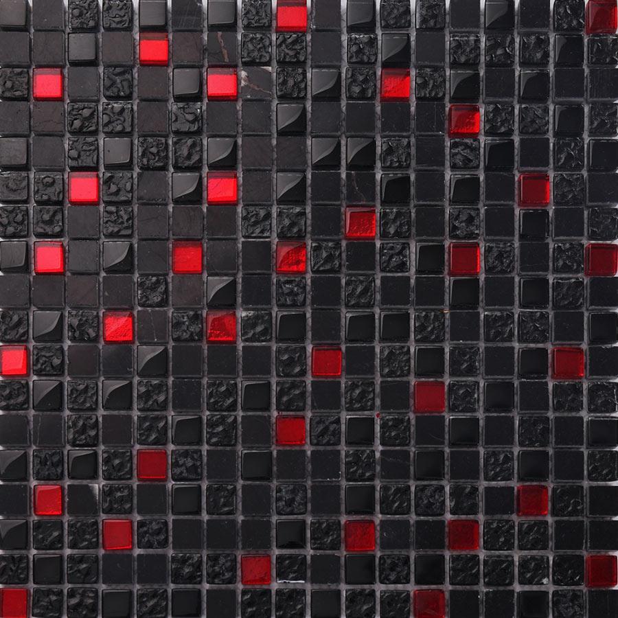 Wandmosaik Bodenmosaik 30x30cm Mosaikfliesen Schwarz Rot Naturstein