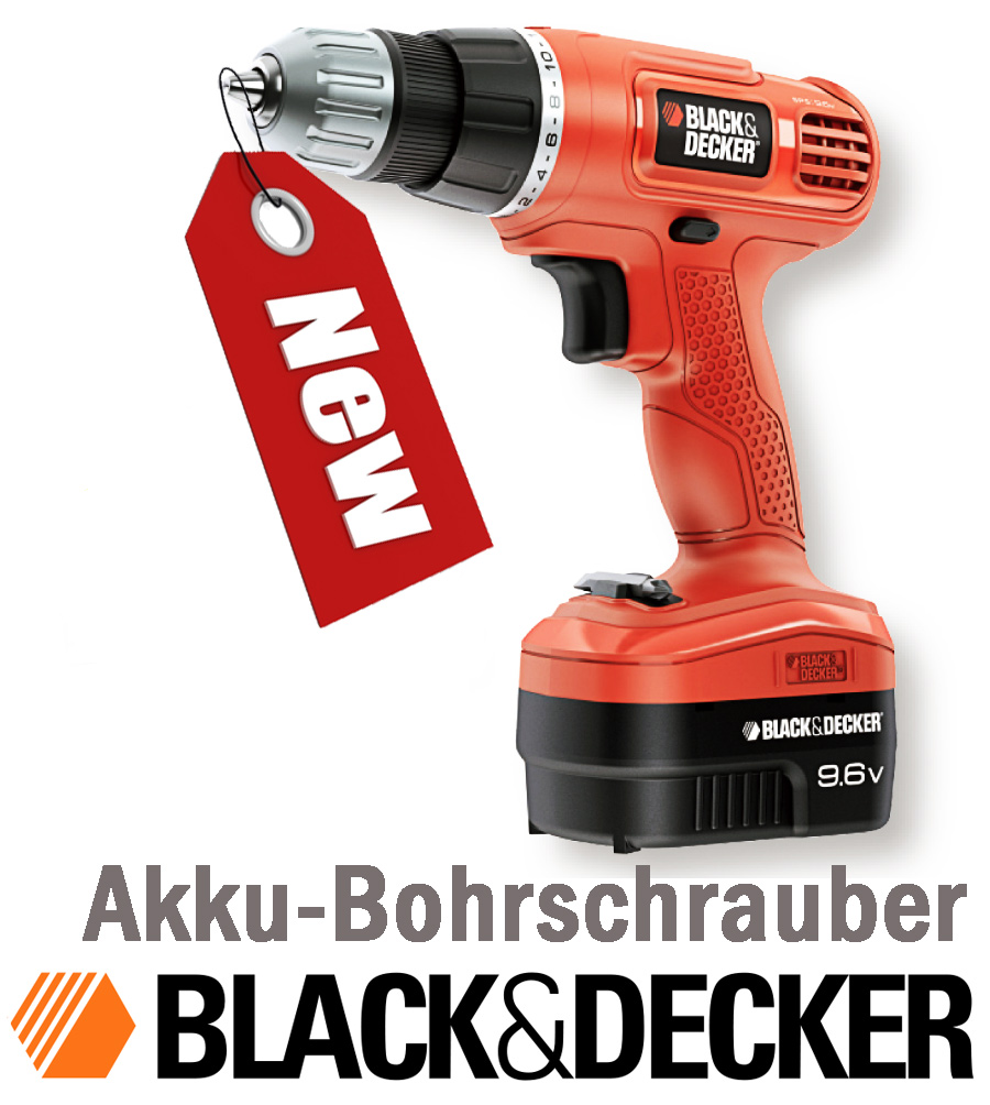 bohrschrauber akkuschrauber black decker black decker epc96ca 1xbit new neu ebay. Black Bedroom Furniture Sets. Home Design Ideas