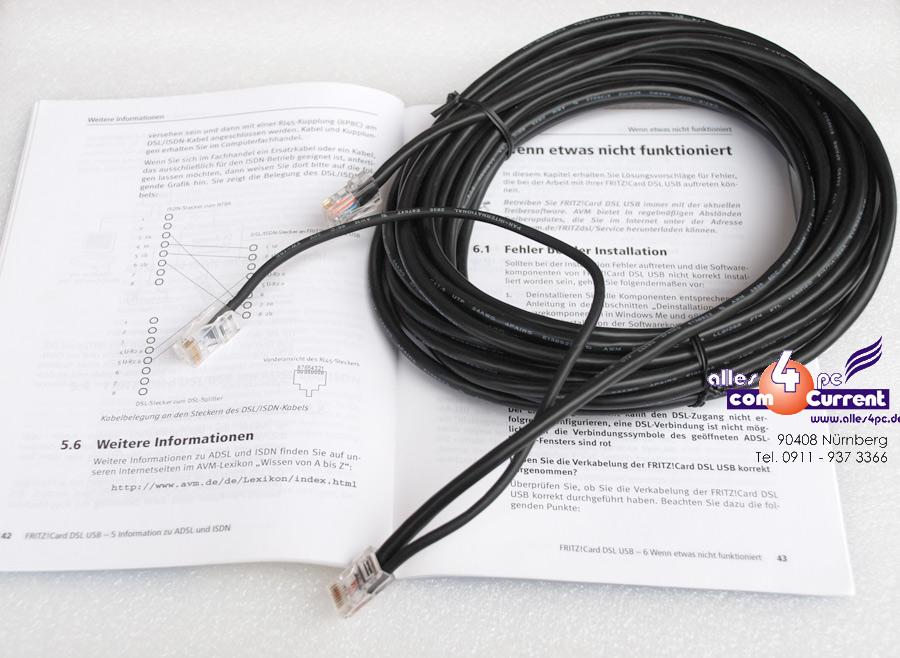 y kabel 10 meter 10m f r usb dsl isdn modem avm fritz card. Black Bedroom Furniture Sets. Home Design Ideas