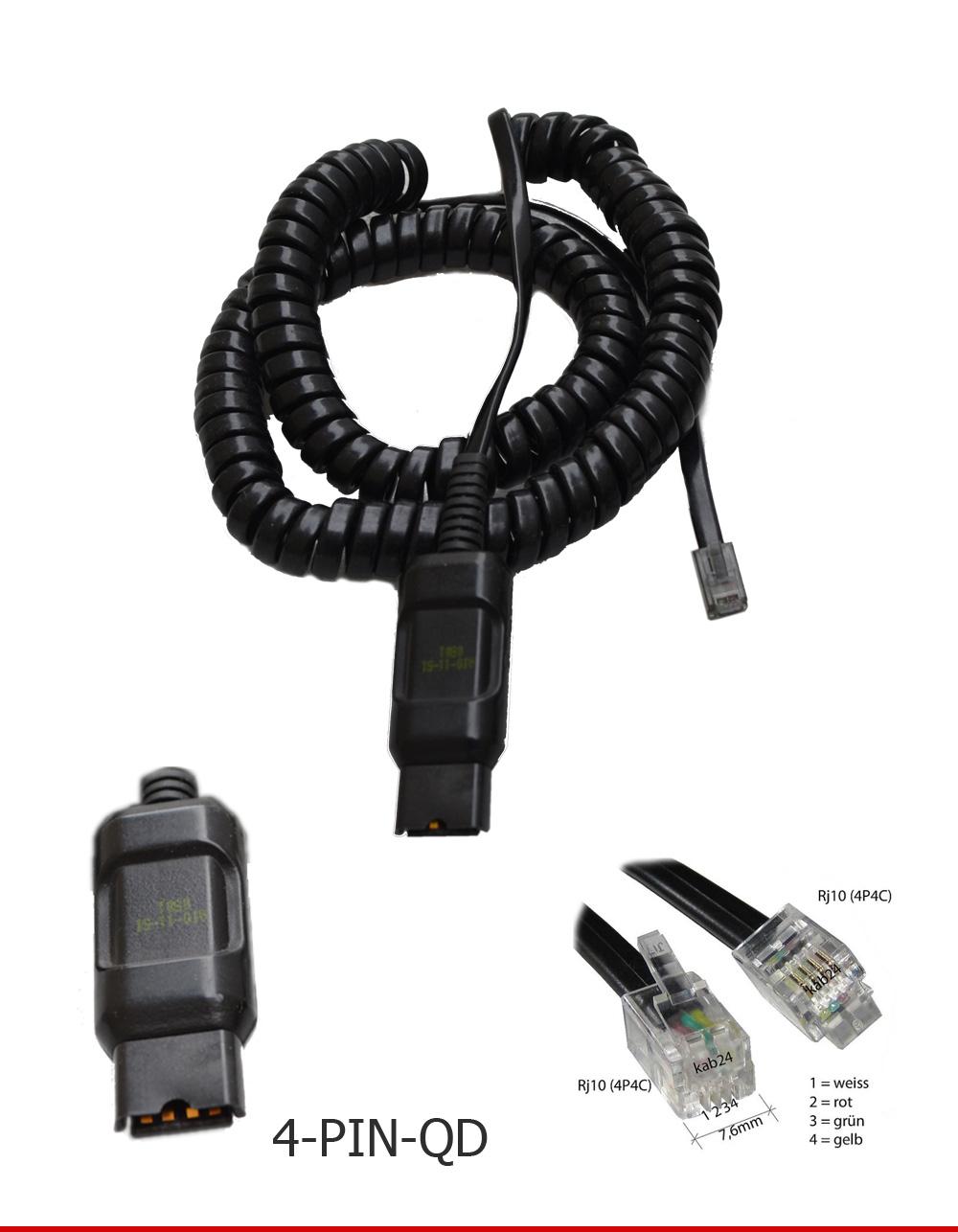 Plantronics Adapter 6-Pin-QD auf 4-Pin-QD schwarz für Headset